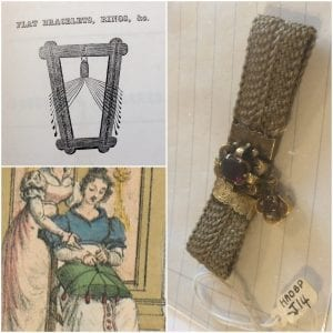 From top clockwise: A hairwork frame from William Martin's Hair Worker's Manual (1852), a hair bracelet of Anne Brontë's hair (HAOBP: J14), and part of the frontispiece of Emilie Berrin's Thorough Instructions for Women on the Production of All Possible Kinds of Hairbraids (1822).
