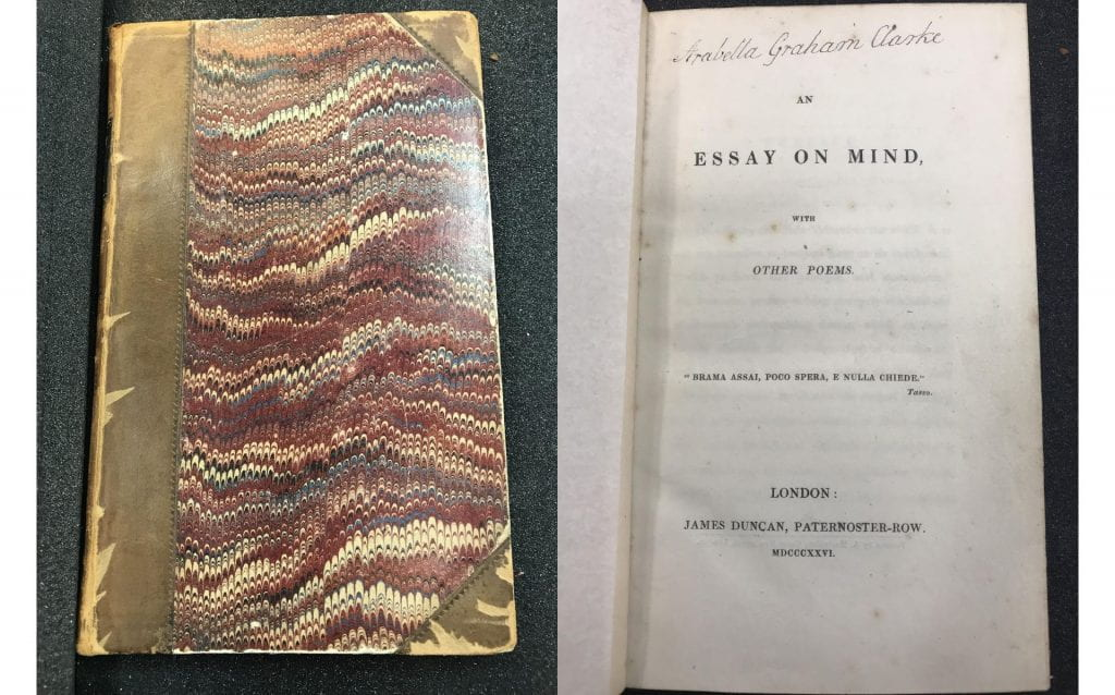 EBB, An Essay on Mind, with Other Poems (1826), Copy 6; see also Browning Guide #C0028
