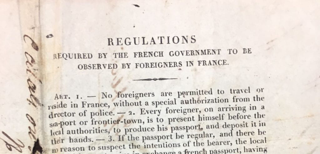 Darley's passport, dated 1835