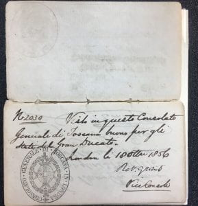 RB Austrian passport with Tuscan Consulate Stamp