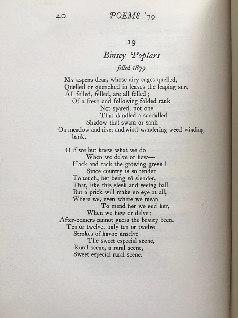 "Gerard Manley Hopkins's ""Binsey Poplars,"" from Poems of Gerard Manley Hopkins, 1st Edition. London: Humphrey Milford, 1918."