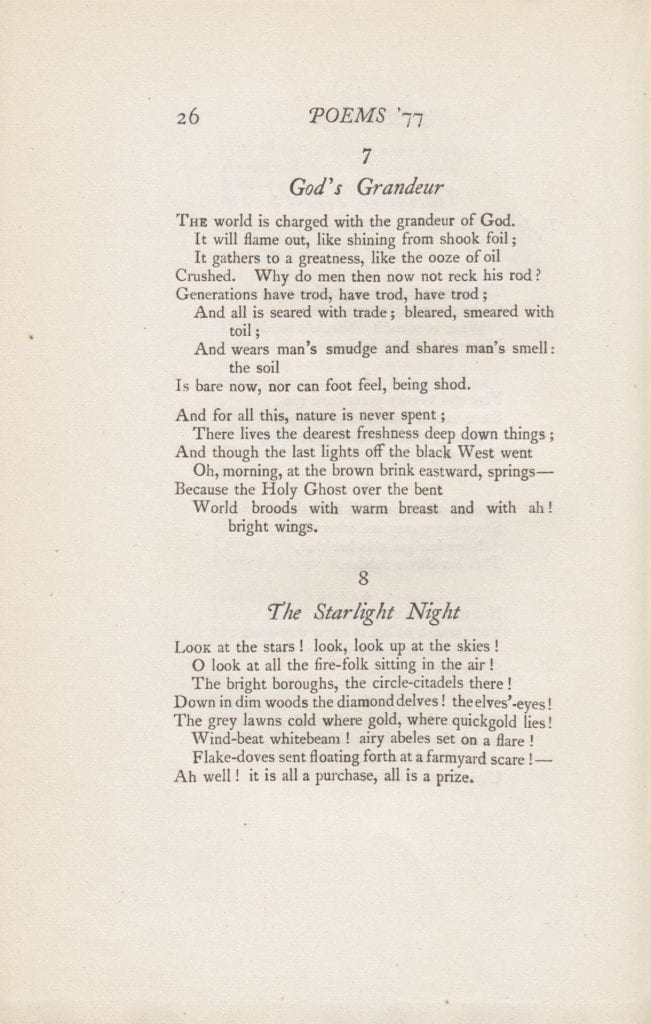 "Gerard Manley Hopkins's ""God's Grandeur,"" from Poems of Gerard Manley Hopkins, 1st Edition. London: Humphrey Milford, 1918."