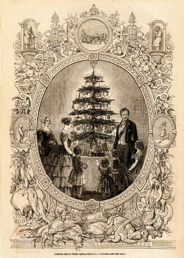 From the Illustrated London News, December 1848, in the Rare Periodicals Collection of the Armstrong Browning Library. This illustration depicts Queen Victoria, Prince Albert, and their family around a Christmas tree at Windsor Castle.