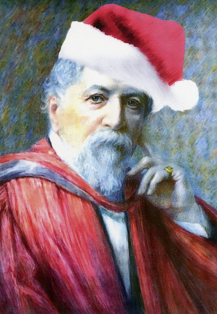 Robert Browning in a santa hat.