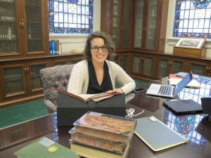 Dr. Lindsey N. Chappell in the Belew Scholars' Room at the Armstrong Browning Library.