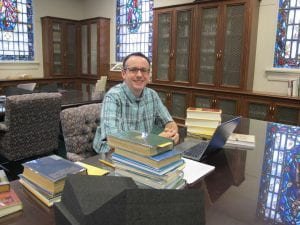 Professor Kevin A. Morrison in the Belew Scholars' Room at the Armstrong Browning Library