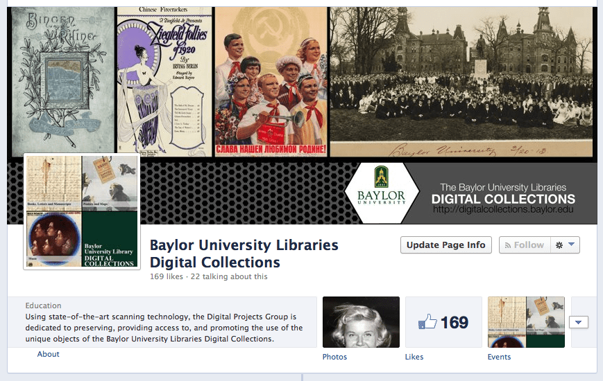 Our Facebook page, with a partial cameo by Doris Day.