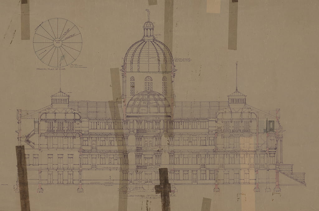 McLennan County Courthouse, J. Riely Gordon, architect. Ca. 1901. Unretouched elevation of original proposed structure.