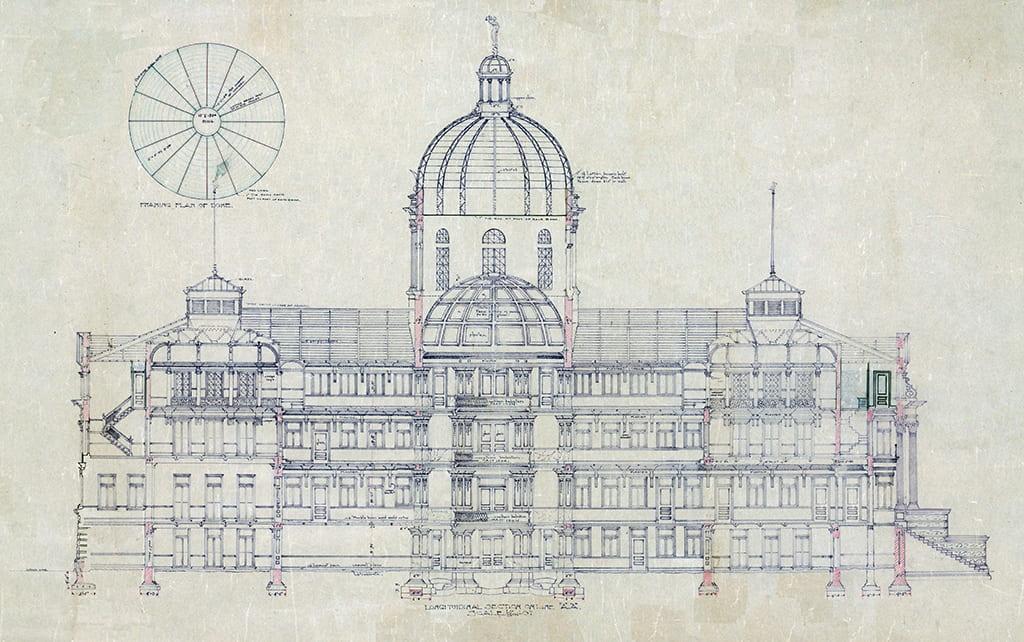 Digitally enhanced image of courthouse plan.