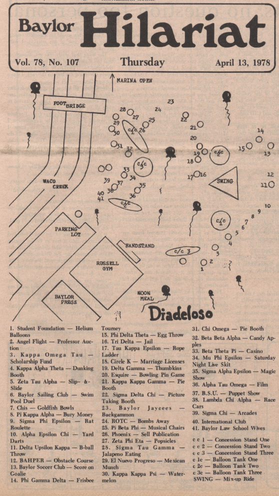 """Map of festivities from Dia-related issue of the """"Baylor Lariat"""" of April 13, 1978."""