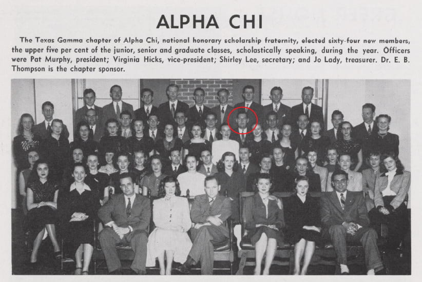 """Best (circled) as part of the membership of Alpha Chi, 1948 """"Round Up"""""""