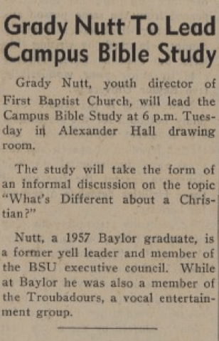 """Article on Nutt's scheduled Bible study on campus, from the April 3, 1958 """"Baylor Lariat"""""""