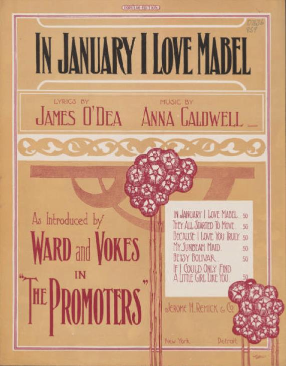 """In January I Love Mabel"" cover, ca. 1909"
