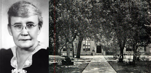 Annie Webb Blanton ca. 1929 and a peek through the trees at Carroll Chapel where she spoke in 1920