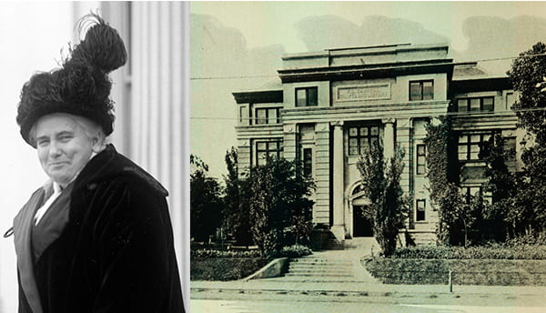 Anna Howard Shaw in 1914 and the Carroll Library where she spoke in 1919