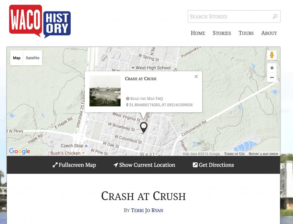 Screenshot of Crash at Crush story from Waco History (http://wacohistory.org/items/show/70)