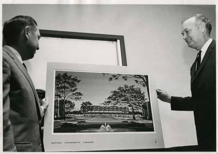 Photo of Joe Allbritton and Abner V. McCall with library building rendering.
