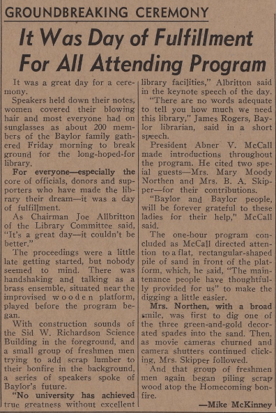 Mike McKinney's article on the ceremony, from the October 22, 1966 Baylor Lariat.