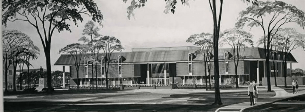 Architects' renderings of proposed new library for Baylor University, 1964.