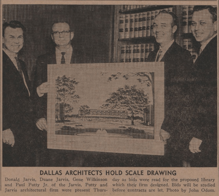 Photo of Jarvis Putty Jarvis representatives with library building rendering from the October 14, 1966 Baylor Lariat.