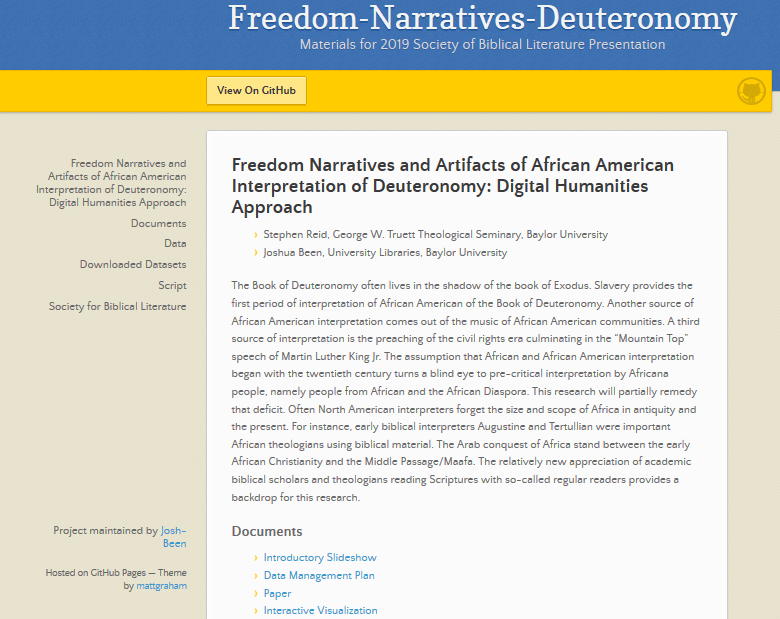 Documents accompanying SBL Presentation: Freedom Narratives and Artifacts of African American Interpretation of Deuteronomy