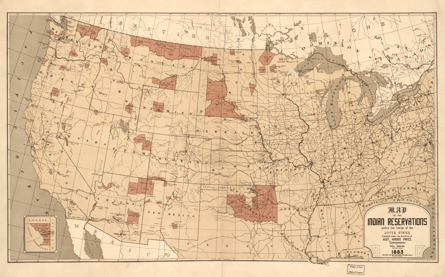 Map Showing Indian Reservations With The Limits Of The United States 1883 Questions