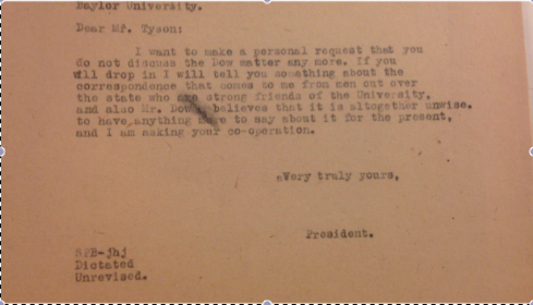 Courtesy of the Baylor University Archives