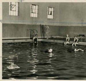 Students swimming in the pool in the new facility (Courtesy of the Texas Collection)