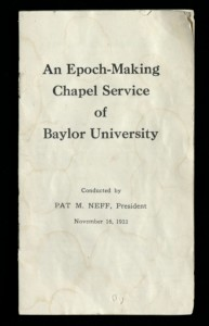 The transcribed booklet containing Neff's famous chapel service.