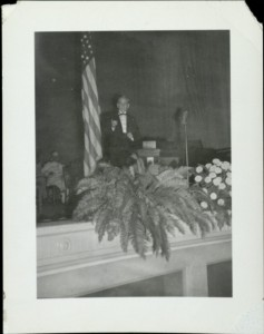 President Neff speaking in a chapel service.