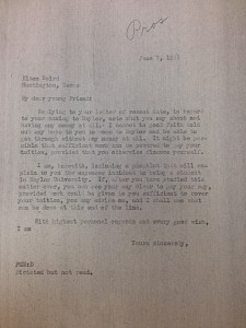 Letter to Elton Baird from Pat Neff, 1933. Courtesy of the Baylor University Archives