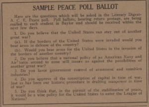 1935 Sample of Literary Digest Peace Poll (Courtesy of the Texas Collection)