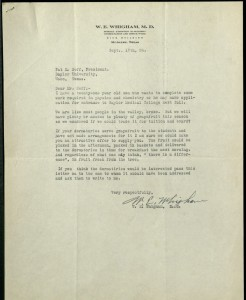 Letter from W.E. Whigham to Pat Neff, 1934.  Courtesy of the Baylor University Archives