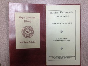 Tidwell's booklet on University Endowment, Courtesy of The Texas Collection