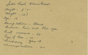 Information Card for Sudie Pearl Murihead. Courtesy of The Texas Collection, Baylor University.
