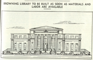 Revealing the proposed Browning Library to the alumni who helped fund it in an issue of Baylor Line.  Courtesy of The Texas Collection, Baylor University. (Click image to enlarge)