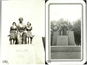 Figure 1: (A) Katherine Lucylle Cope Fulmer and friend with Judge Baylor statue (image from Fulmer, 1:1) and (B) Katherine Lucylle Cope Fulmer in graduation cap and gown with Judge Baylor statue (image from Fulmer, 1:2 1941)