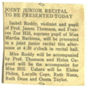 Figure 2: Katherine Lucylle Cope Fulmer served as an usher in a junior musical recital at Baylor in 1941 (image from Fulmer, 1:scrapbook)