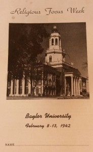 Religious Focus Week Pamphlet  Courtesy of the Texas Collection, Baylor University