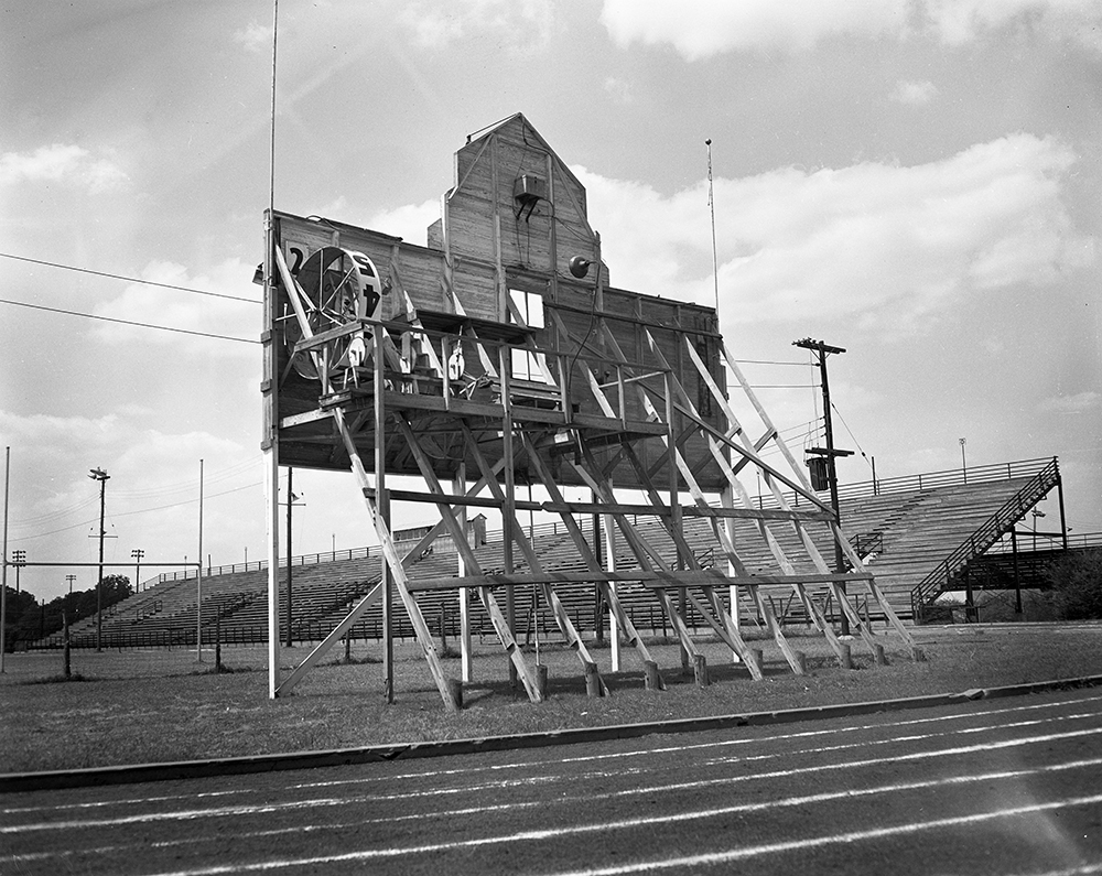 Municipal Stadium Scoreboard, Waco, Texas, 1949, Baylor University, Courtesy of The Texas Collection