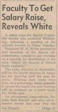 """Faculty To Get Salary Raise, Reveals White"""