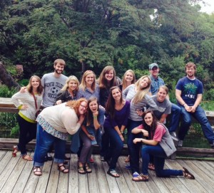Members of the first and second-year HESA cohorts on a trip to Cameron Park Zoo.