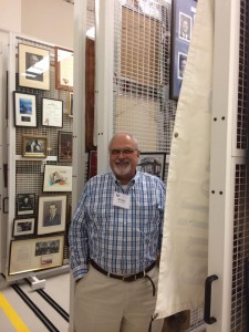Bill among the amazing art racks in the SCPC stacks.