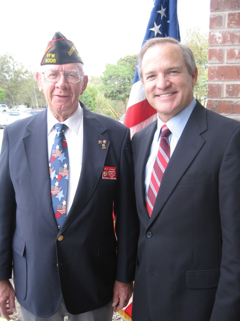 Congressman Edwards, seen here with Wes Strom, the Commander for VFW District 29.
