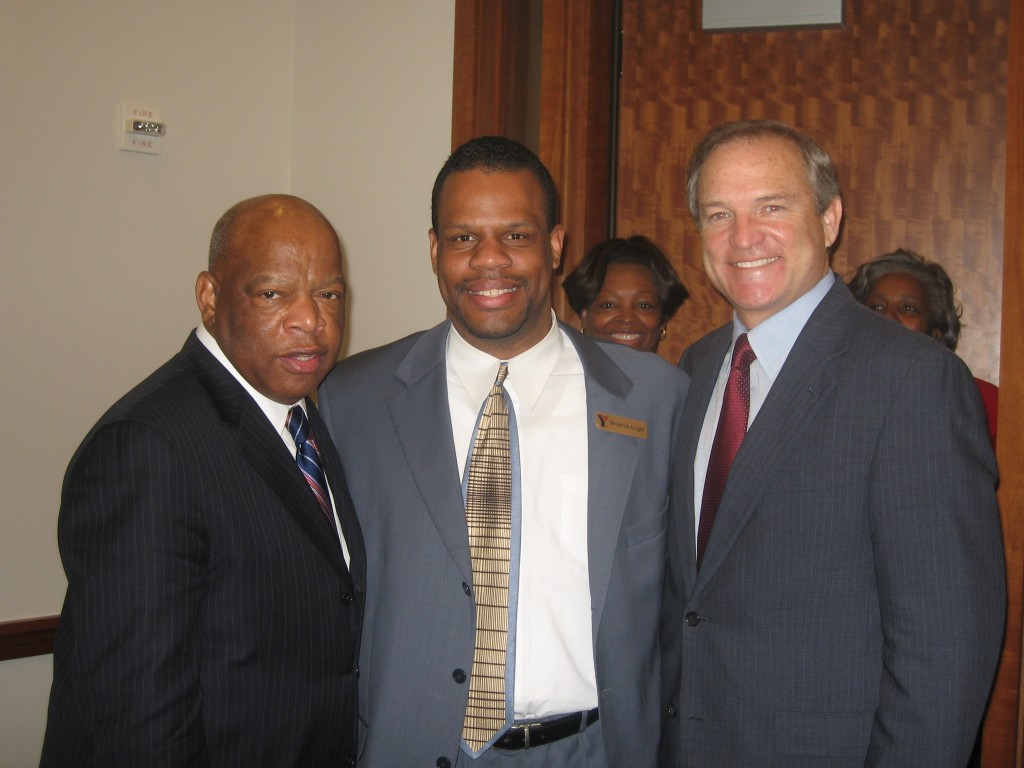 From left to right: Congressman John Lewis (D-Ga), Broderick Knight (Executive Director of YMCA Central Texas), and Congressman Chet Edwards (D-Tx) in February 2007.