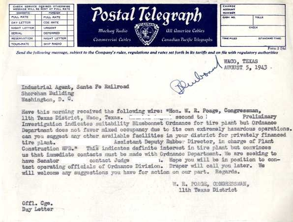 A telegram from Congressman W.R. Poage relaying information from a prospective industry contact. (Names redacted)