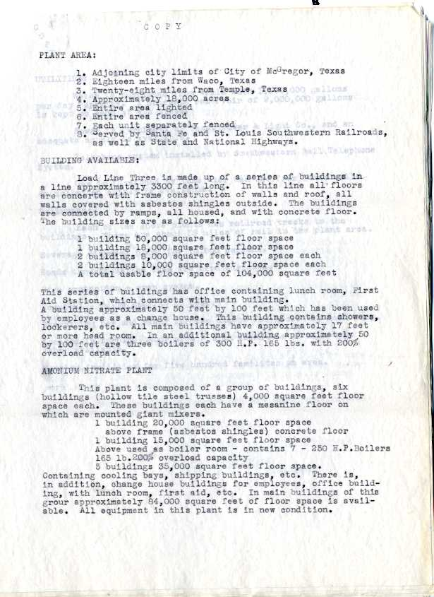 A page from a document describing the Bluebonnet Ordnance facility's attractive qualities.