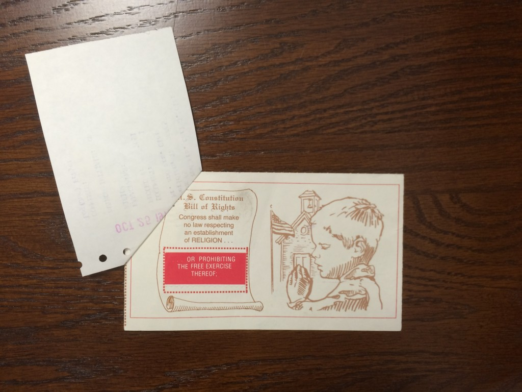 The front of a postcard from a constituent. Note the text from the First Amendment prominently displayed.