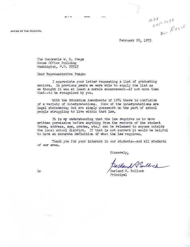 A letter from Principal Garland Bullock asking for clarification of a request's legality. Under the Buckley Act, educational institutes required student or guardian consent to release personal information.