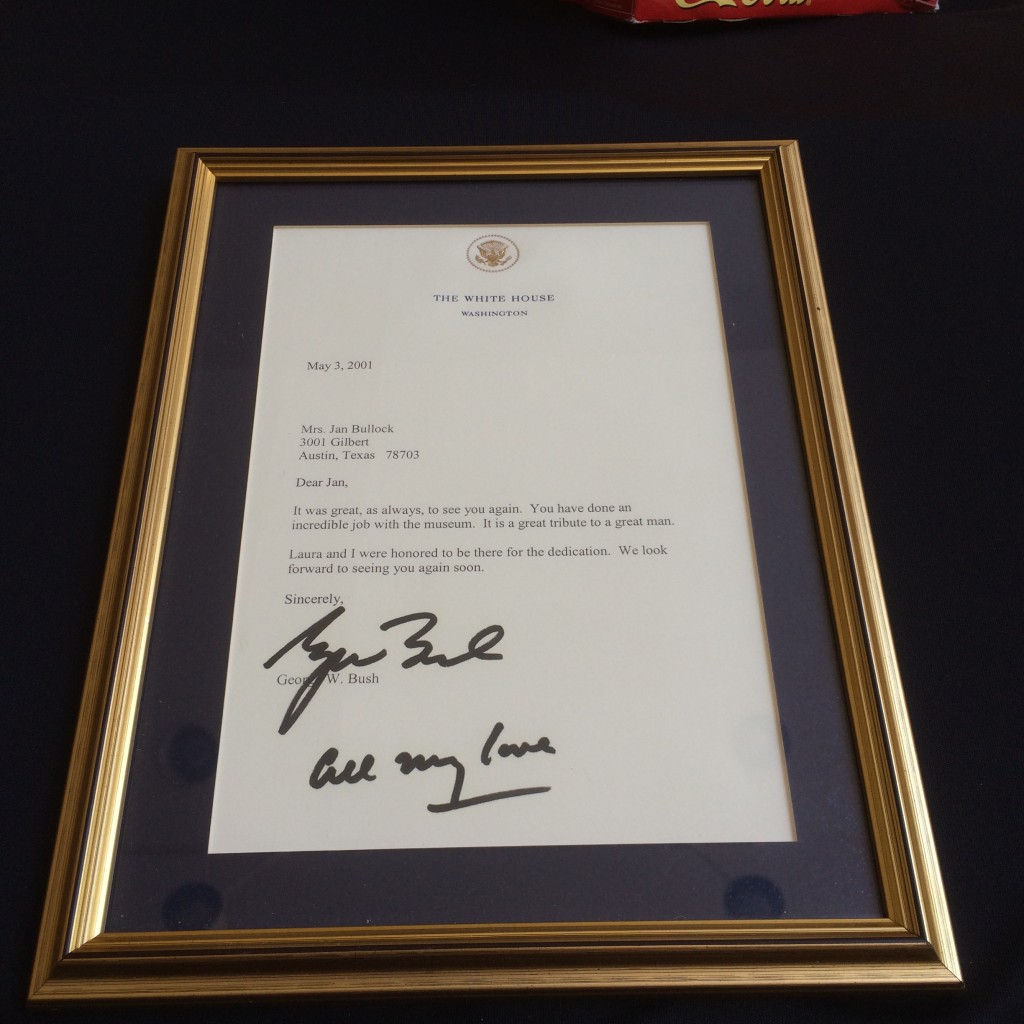 A signed letter from former President George W. Bush to Mrs. Jan Bullock.